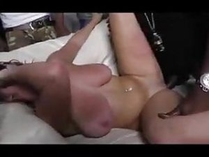 Busty gf degrades bf with nasty BBC club ganging
