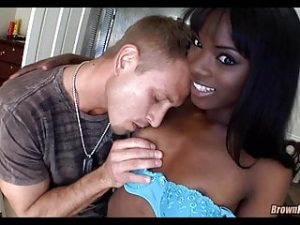 Skinny black girl slurps white dick