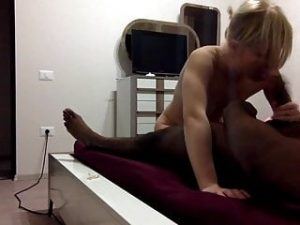 collage Blonde escort with max black