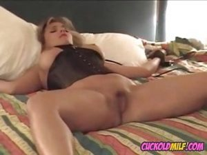 Cuckolds wife tied to bed and fucked by hired BBC bull