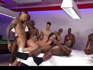 Amara Romani gets gangbangws from 14 black cocks